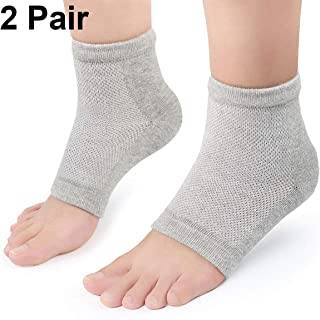 Moisturizing Gel Heel Socks 2 Pairs, Plantar Fasciitis Socks for Men and Women Foot Compression Sleeves Silicone Cotton So...