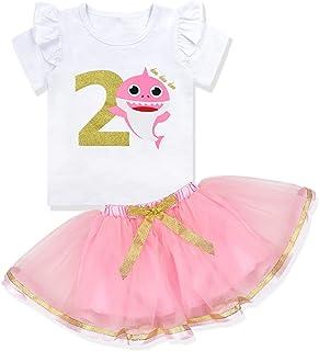 KANGKANG Baby Girls Birthday Shark and Doo Doo Doo Romper + Tutu Dress 1st Birthday Outfit Set