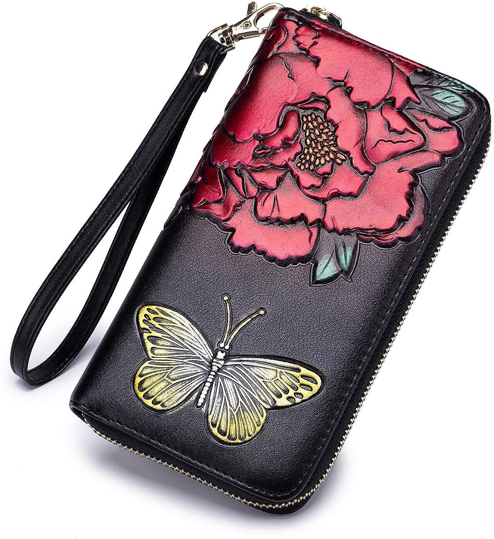 Imeetu RFID Blocking Credit Card Holder Case Clutch Bag Wallet Women Leather Large Wristlet Purses with Zipper Pocket