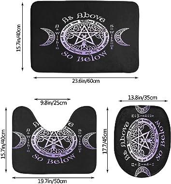 BCVDGFKJ Wiccan Pagan Witch Bathroom Rug Mat Bath Accessories Set 3 Piece,Non-Slip Bath Mat Pedestal Rug+U Shaped Contour Mat