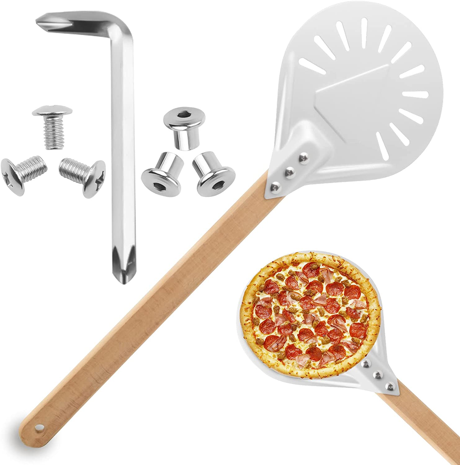 Branded 2021 model goods Pizza Turning Peel Round Perforated Pad Wooden