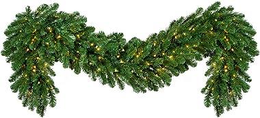 "Red Sleigh Prelit Oregon Fir Commercial Grade Christmas Garland Greenery (20"" x 9 ft Garland, Warm White LED Lights)"