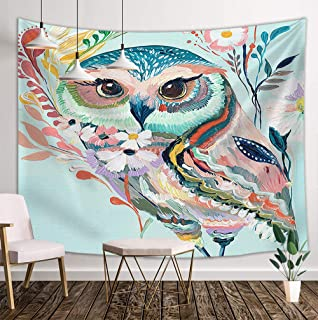 DYNH Cartoon Owl Tapestry Wall Hanging, Flowers and Wild Animals Owls 3D Oil Painting Printing, Hippie Tapestries Blankets Home Mandala Decor for Bedroom Living Room Dorm, Mandala Style 71X60 Inches
