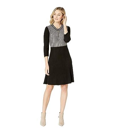Calvin Klein Long Sleeve Sweater Dress (Black/White) Women