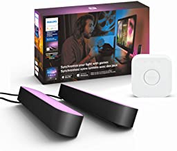 Philips Hue Play Starter Kit, Two Black Hue Play Light Bars, Hue Hub, and Power Supply, Compatible with Alexa