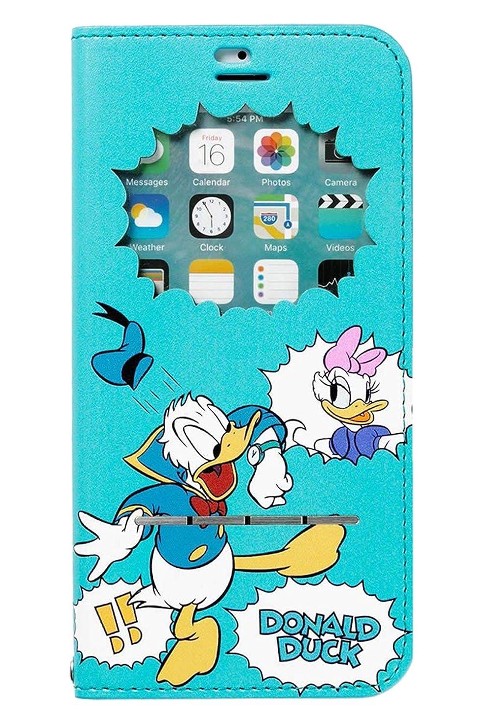 精算インディカ海洋のiPhone6s iPhone6 ケース 手帳型 ディズニー 窓付き キャラクター カバー カード収納/ドナルド