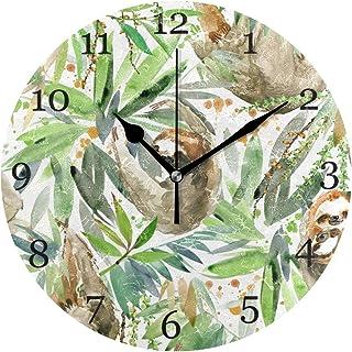 Akvarell sengångare träd löv väggklocka tyst icke-tickande 25 cm rund klocka akryl konst målning hem kontor skola dekor