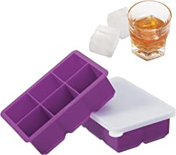 Whiskey Ice Cube Trays, 2 Pack Silicone Square Ice Mold with Lids, No-Spill Easy Release 2-Inch Large Square Cube Molds