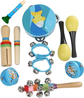 Redcolourful 10Pcs/Set Musical Toys Percussion Instruments Rhythm Kit Kids Toddlers Music Instruments Toys for Children Christmas Gift Blue Expeditious