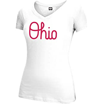 Small Black J America NCAA Ohio State Buckeyes Womens Brutus Laurels Essential Tee