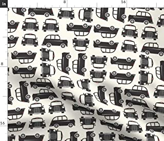 Spoonflower Fabric - Black White London Car Modern Printed on Cotton Poplin Fabric by The Yard - Sewing Shirting Quilting Dresses Apparel Crafts