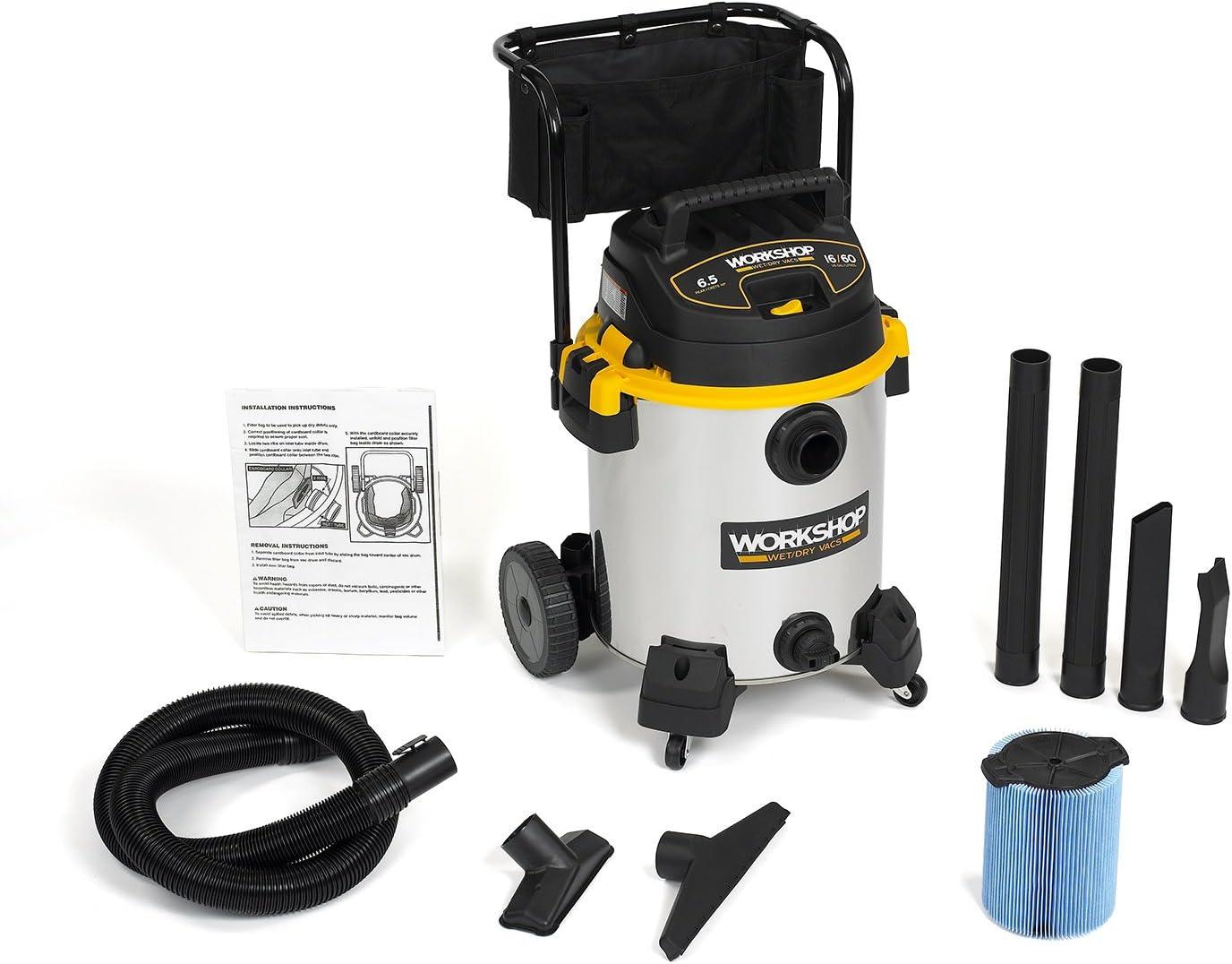 WORKSHOP Wet/Dry Vacs Vacuum WS1600SS Heavy Duty Stainless Steel Wet/Dry Vacuum Cleaner, 16-Gallon Stainless Steel Shop Vacuum Cleaner, 6.5-Peak HP Wet And Dry Vacuum : Industrial & Scientific