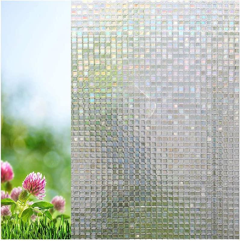 Xindinyi PVC No Glue Mosaic Privacy Window Film Sun Blocking Kitchen Decor Heat Insulation Anti UV Discoloration For Home Kitchen Office Bedroom Bathroom 17 3 X78 7