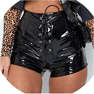 Lace Up Eyelets Bright PVC Shorts Women Goth Short Trousers Black Punk PU Leather Club Shorts Red