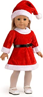 sweet dolly Doll Clothes Santa Christmas Dress Outfit Fits 18 Inches American Girl Dolls (Dress, Hat, Blet, Stockings)