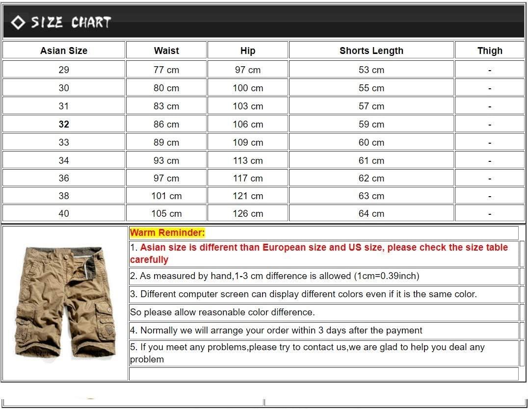 JiuRui Leisure Shorts New Summer Men Cargo Shorts Cotton Knee Length Army Multi-Pockets Shorts Loose Work Casual Shorts 29-40 (Color : Army Green, Size : 32)