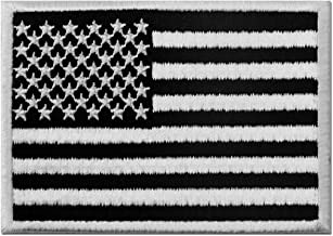 Tactical American Flag Embroidered Patch USA United States of America Military Iron On Sew On Emblem - White & Black