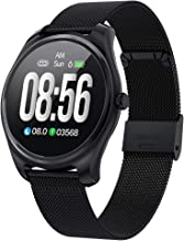 Mintsin Smart Watch for Android iOS Phone 2019 Version, Heart Rate Monitoring, Sleep Monitoring, 240 mAh Battery, 1.3 Full LCD Display, Full Screen Touch (Black Steel Watchband)