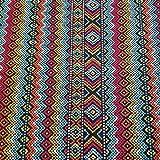 Stoff Meterware Baumwolle Zickzack Streifen Mexiko orange