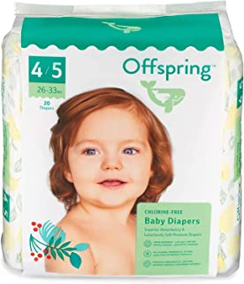Offspring Disposable Diapers Size 4 to Size 5 - Eco-Friendly, Premium Ultra Soft, Double Leak Guard Protection (Pinehappy 20 Count 26-33lbs.)