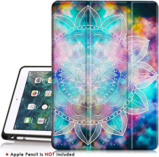 iPad 5th 6th Generation case with Pencil Holder,iPad Air 2 Case,PIXIU Unique Protective Leather Folding Stand Folio Cover with Auto Wake Sleep for New iPad 9.7 Inch 2018 and 2017 Mandala
