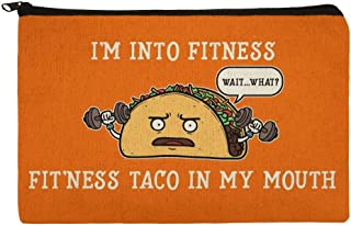 I'm Into Fitness Fit'ness Taco In My Mouth Funny Makeup Cosmetic Bag Organizer Pouch
