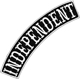 VEGASBEE® INDEPENDENT BLACK-WHITE IRON-ON DECORATIVE PATCH EMBROIDERED BIKER JACKET DECORATIVE TOP ROCKER 13