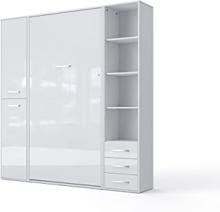 Invento Vertical Wall Bed, European King Size with 2 cabinets (Slate Grey/White Monaco)