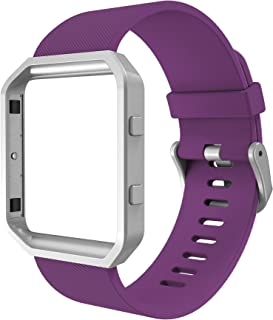 Simpeak Bands with Frame Compatible with Fitbit Blaze, Silicone Replacement Band Strap with Frame Case Replacement for Fit bit Blaze Smart Fitness Watch, Small/Large