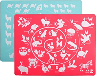 Kindga Alphabet & Number Placemats Set of 2, Educational Learning Placemat for Kids Baby,100% Silicone BPA Free Washable Non-Slip