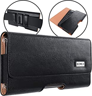 BOMEA Galaxy S8 S9 Belt Case PU Leather Belt Clip Case Holster Pouch Cover with Clip and Loops for Samsung Galaxy S8 S9 Phone (Holder Fits Phone w/Otterbox Commuter Case on) Black