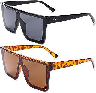 Women Square Oversized Sunglasses Fashion Flat Top Shield Rimless Shades UV400