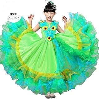 314d371f7 Wgwioo Niños Vestidos De Flamenco Muestran La Falda De Traje Chica De Toro  De Danza Moderna