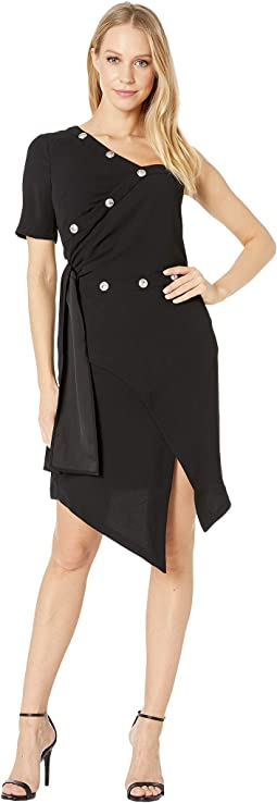 Crepe Snap Wrap Dress
