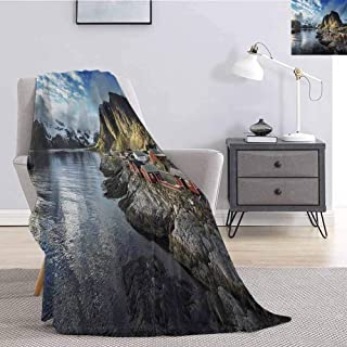 Luoiaax Island Luxury Special Grade Blanket Fishing Hut Photo in Autumn with Rocks and Clouds Scenery Northern Norway Cold Multi-Purpose use for Sofas etc. W91 x L60 Inch Blue Grey White