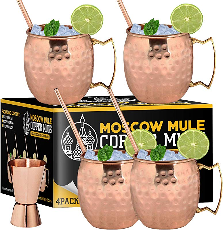 Moscow Mule Copper Mugs Set Of 4 100 Handcrafted Food Safe Pure Solid Copper Mugs 16 Oz Gift Set With Bonus Cocktail Copper Straws And Jigger Copper