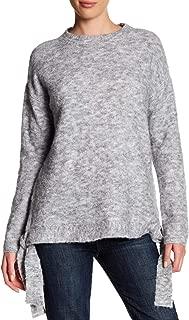 Women's Mélange Side Tie Crewneck Sweater Gray Size L
