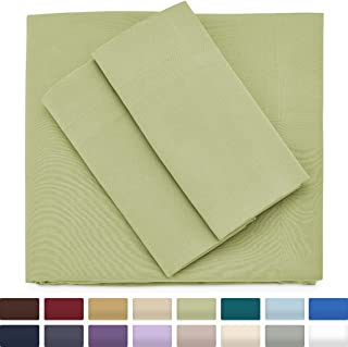 Cosy House Collection Premium Bamboo Sheets - Deep Pocket Bed Sheet Set - Ultra Soft & Cool Breathable Bedding - Hypoallergenic Blend from Natural Bamboo Fiber - 4 Piece - Full, Sage Green