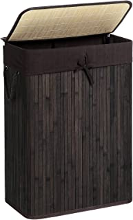 SONGMICS Bamboo Laundry Hamper, Laundry Basket with Lid, 19 Gal (72L) with Liner, Lid and Handles, in Bedroom Closet Laundry, Brown ULCB10BR