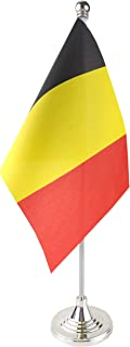 GentleGirl.USA Belgium Table Flag, Stick Small Mini Belgian Flag Office Table Flag on Stand with Stand Base, International Festival Decoration,Belgiums Theme Party Decoration,Home Desk Decoration