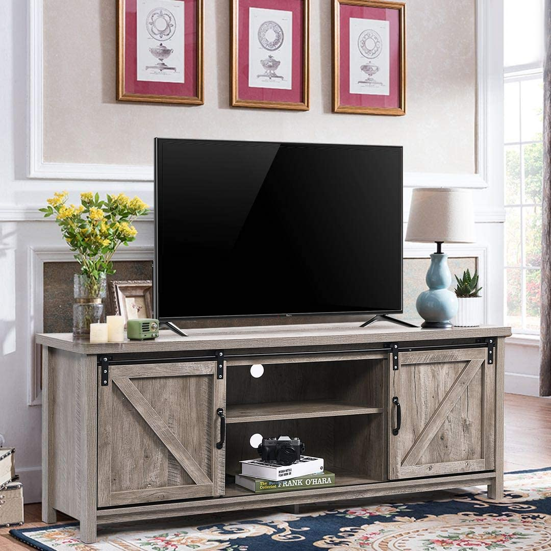 Catrimown Farmhouse TV Be super welcome Stand Sliding Wood Door Entertainmen Easy-to-use Barn
