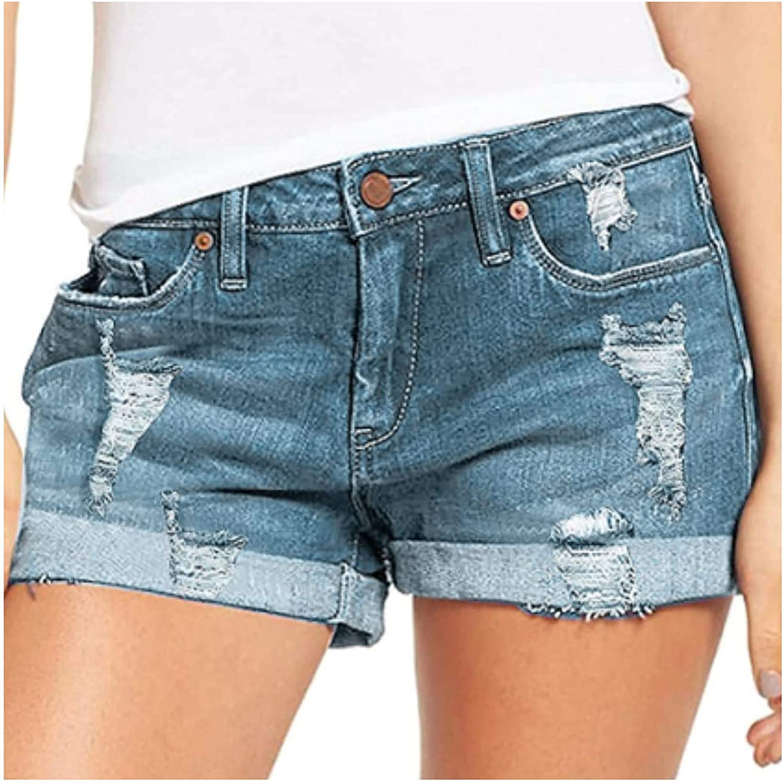Boshivw Women's Jeans Shorts Stretch Hem Crimping Ripped High Rise Denim Destroyed Workout Beach Workout Shorts