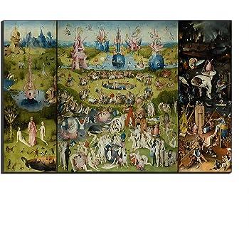 Five-Seller Jardín De Las Delicias Terrestres De Hieronymus Bosch Lienzo Cuadros Famosos Reproducción De Arte Impreso En Lienzo Arte De Pared Arte para Decoraciones para El Hogar (40_x_60_cm): Amazon.es: Hogar