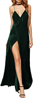 Verdusa Women's V-Neck Backless Wrap Velvet Cocktai Party Dress