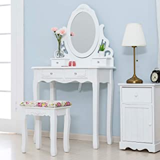 Mecor Vanity Table Set, Makeup Table with Oval Mirror Hollow Carved Frame, Wood Dressing Table w/Cushoined Stool&4 Drawers Kids Girls Women Bedroom Furniture (White)