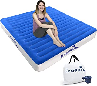 EnerPlex Rechargeable Technology High Speed Wireless Best in Class Rechargeable Pump Queen Air Mattress for Camping Queen Airbed Single High Inflatable Blow Up Bed for Home Travel 2-Year Warranty