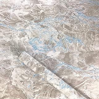 Taamall Simplemuji Gray Blue Marble Grain Granite Wooden Grain Effect Countertops Gloss Paper Vinyl Film 17.7inch by 79inch