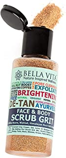 Bella Vita Organic Face & Body Scrub for Skin Brightening De-Tan Ayurveda, Exfoliate Knees, Elbows, Face, Scalp, Arms Etc, 100 g