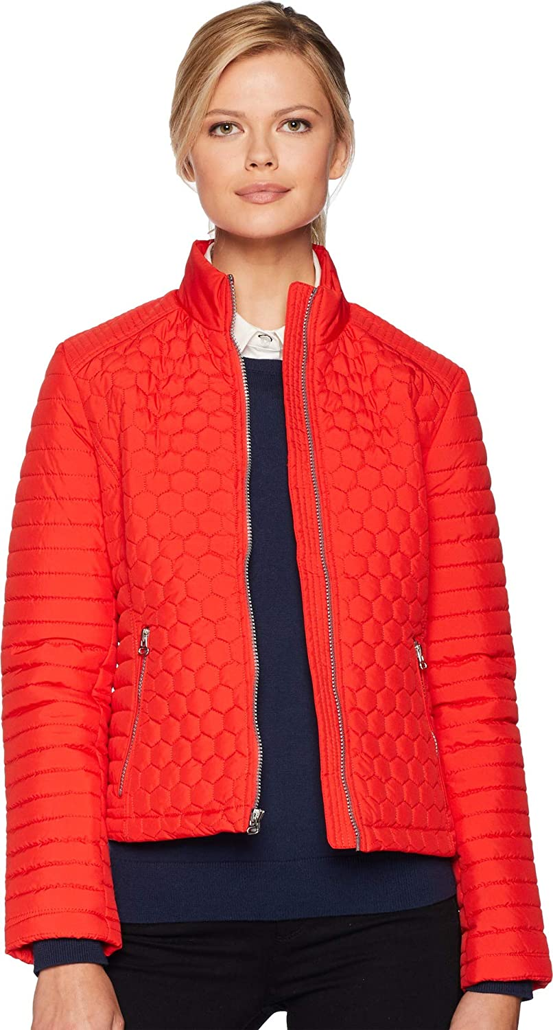 Marc New York by Andrew Marc Womens Linden Honeycomb Mini Quilted Scuba Jacket