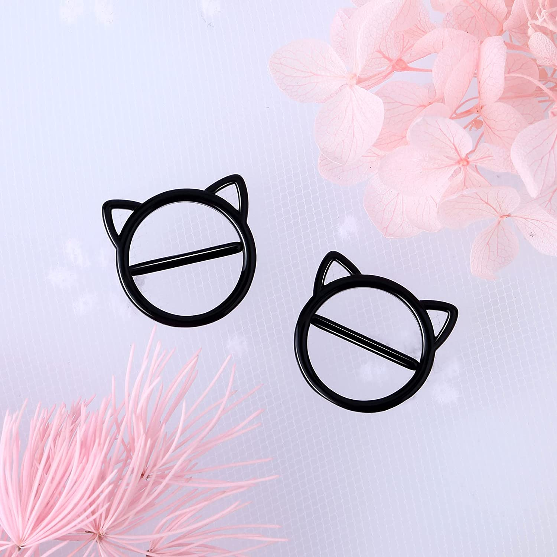 CM Crareesi Mania Black Cat Nipple Rings 316L Stainless Steel Women Nipple Piercing Jewelry Round Nipple Bars Hinged Clicker Black Nipple Barbells